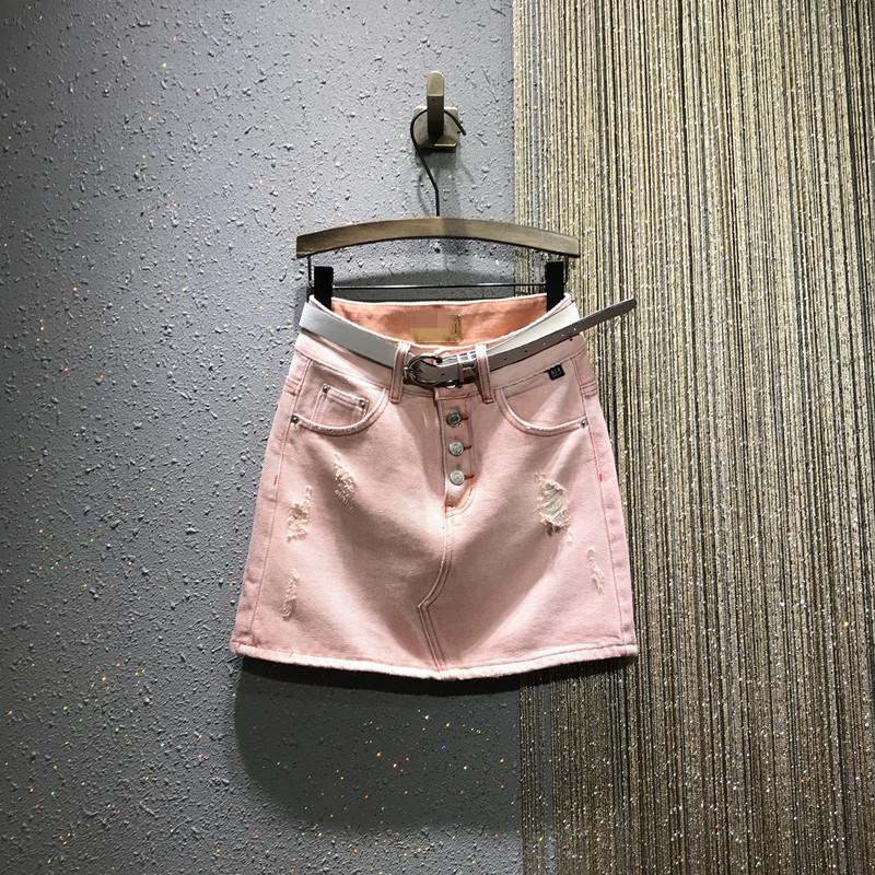 Europäische Bahnhof 2020 Frühling und Sommer neue High-taillierte breasting war dünn und Gebrochene Ein Wort Tasche Hip Denim Rock Röcke für Frauen