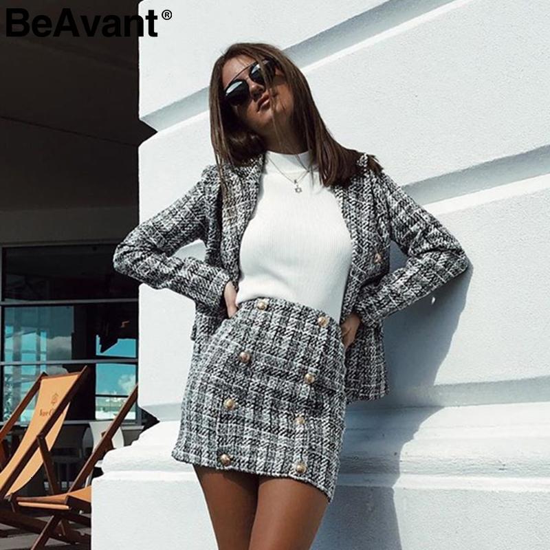 BeAvant Двухсекционный набор клетчатые твидовые женщин костюм повседневные костюмы Blazer уличная женщина Blazer наборы офисные дамы блейзер топы 2019 CJ191201