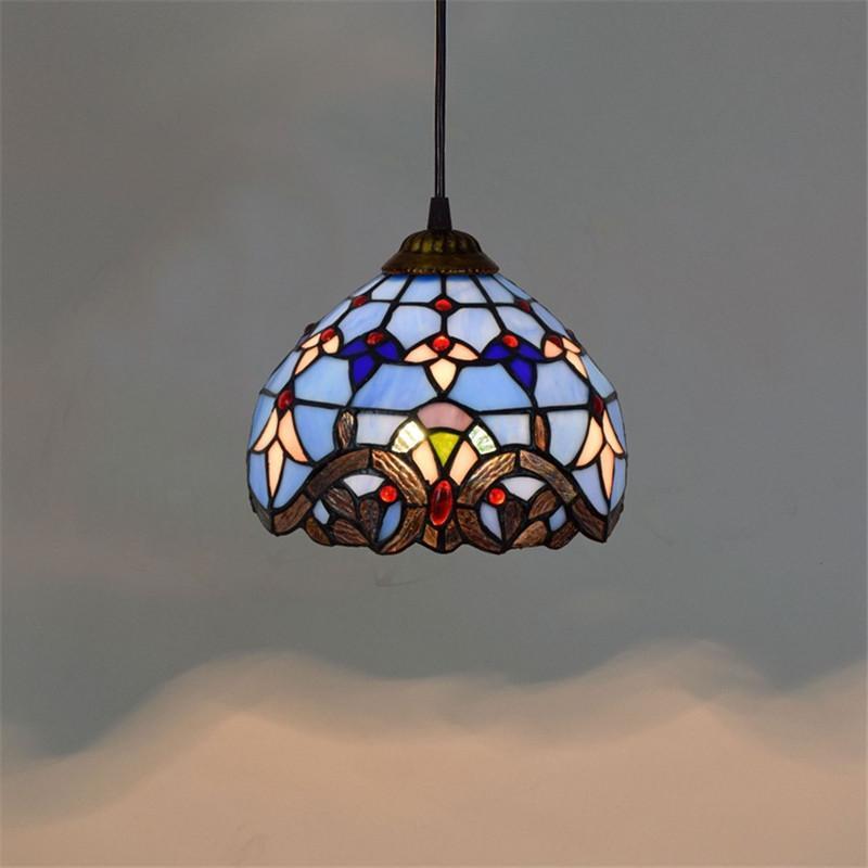 الملون تيفاني أضواء قلادة من الزجاج غرفة المعيشة شريط غرفة الطعام غرفة نوم الممر الزجاج الأزرق الثريا TF003