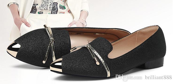 scarpe 2019 delle donne in primavera e in autunno con il bowknot Nuovo stile tacco basso estremità appuntita @ QQ669963