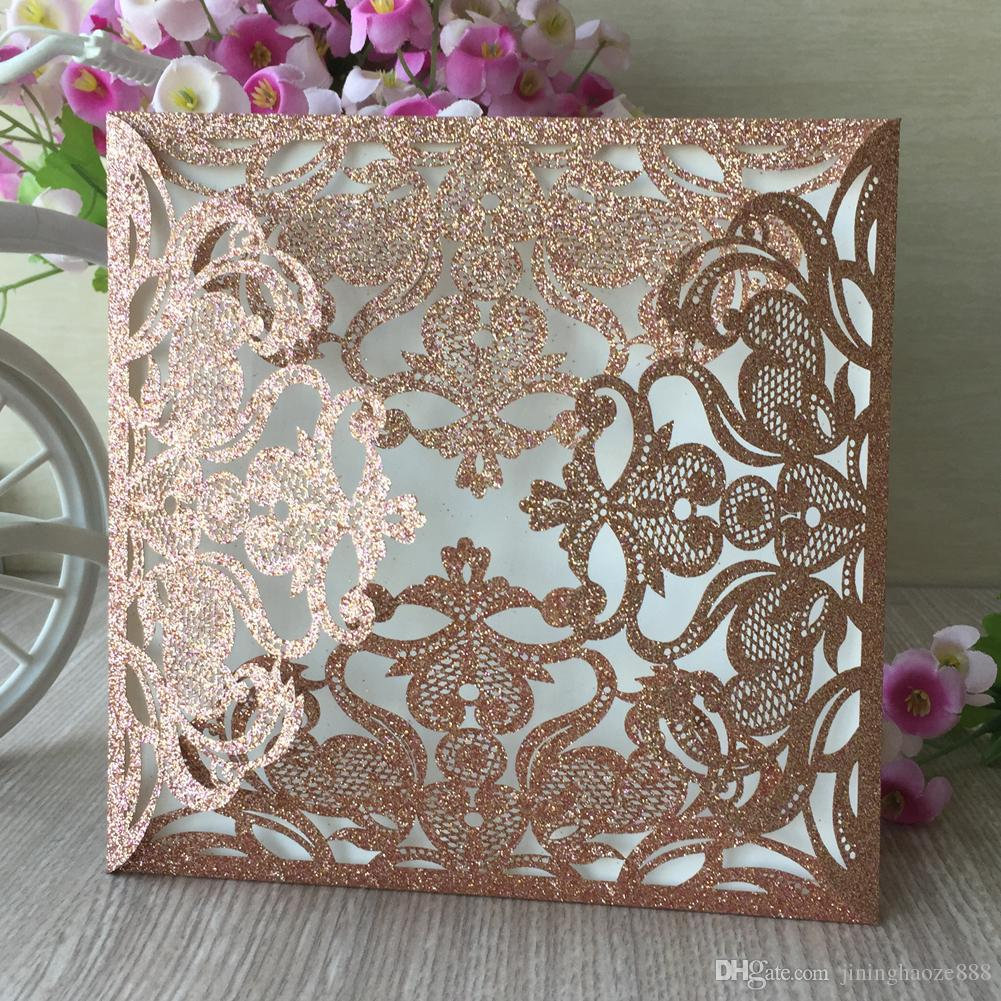 Romantic Laser Cut Flowers Invitation Card With Glitter Paper For Wedding Invitation Cards Birthday Party Business Invitations