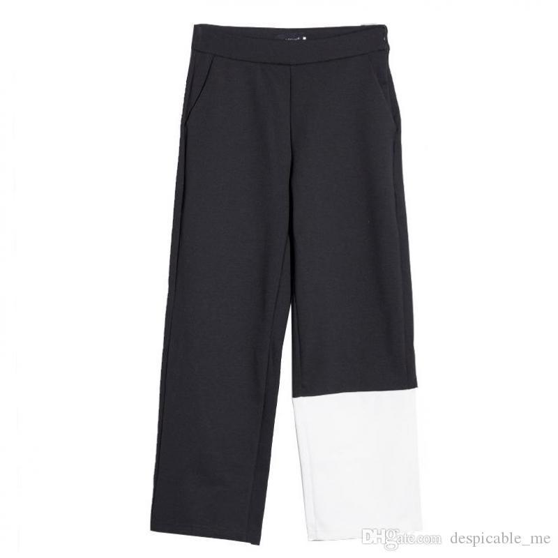 Pantalón de mujer de cintura alta negro blanco Color a juego tobillo-longitud pantalones de algodón de ocio pantalón de pierna ancha mujer de cintura alta 2020