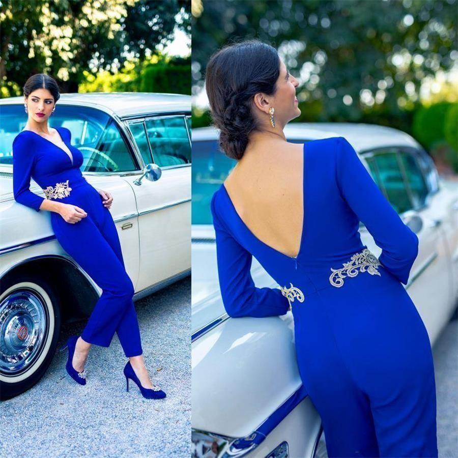 Árabe Dubai Royal Blue Macacões Prom Vestidos mangas compridas Festa Noite Open Back Vestidos Lace Appliqued Formal Wear robe vestido de noite