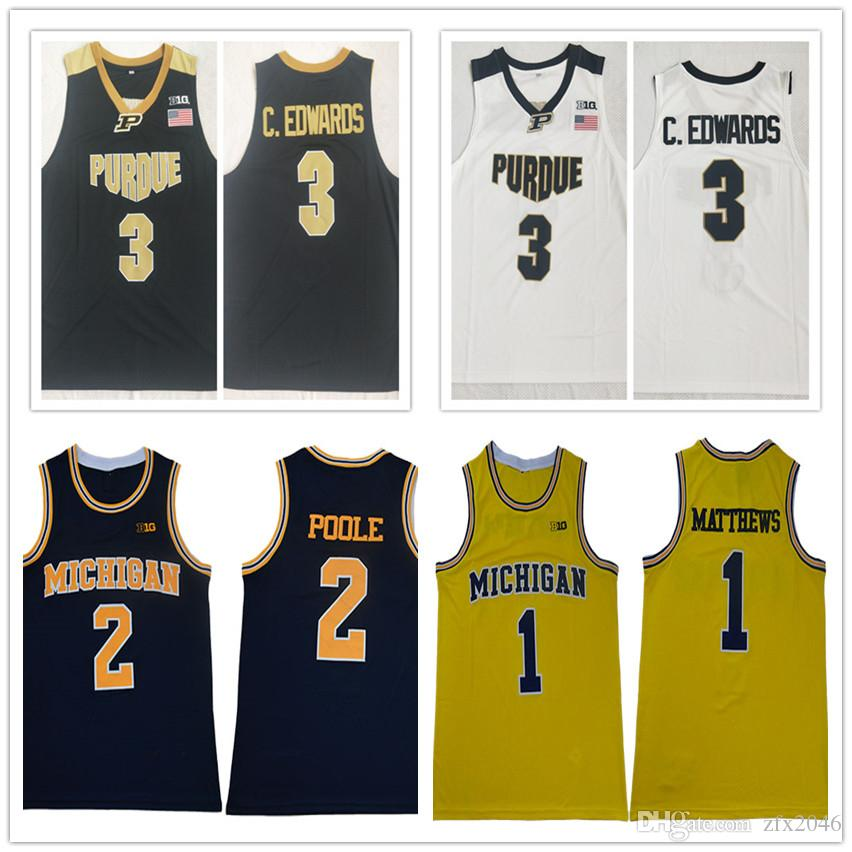 2019 NCAA Purdue Boilermakers #3 Carsen Edwards Jersey Michigan Wolverines #1 Charles Matthews # 2 Poole Basketball Jerseys College Stitched
