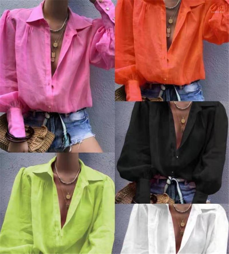 A luva longa Tops Descontraído Mulheres Lantern Blusas de manga lapela Moda Cor Fluorescente Neck camisetas das mulheres do vintage