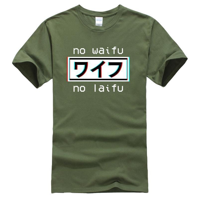 Нет Waifu Нет Laifu Streetwear футболки Мужчины лето Новый 2020 Мода Смешные Harajuku Топы хлопок майка Япония Манга Повседневный T-Shirt