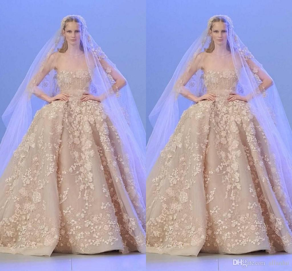 Luxury Elie Saab 2020 Lace Ball Gown Wedding Dresses 3D Appliques Beads with Sheer Neck Bridal Dress Plus Size Bride Gown