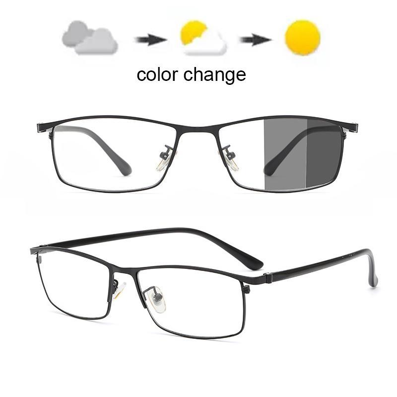 안경 전체 림 안경 남성 사각 안경 금속 남성의 광색 UV400 선글라스 야외 차단 컴퓨터 블루 라이트