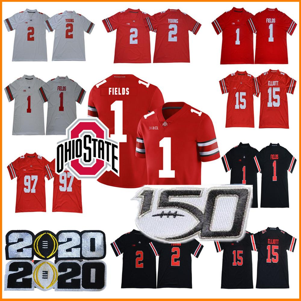 2020 NCAA Ohio State Buckeyes Jersey 1 Justin Campos 2 perseguição Young 7 Dwayne Haskins Jr 97 Nick Bosa 15 Elliott OSU College Football Jersey