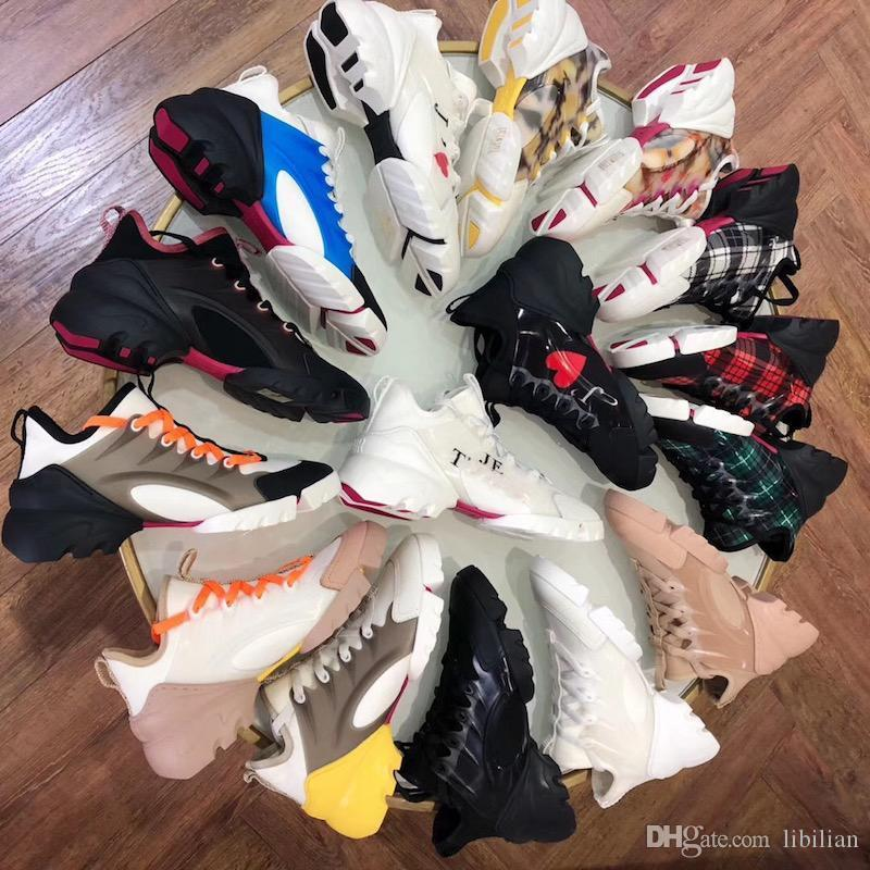 2020 neue Frauen Connect Sneakers Triple-S-Turnschuhe Ripsband Retro-Turnschuhe laufen Blumen Multicolor Neopren 5CM Größe 34-41 US10