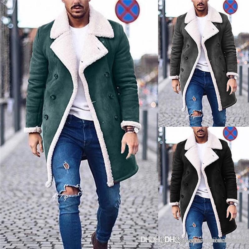 디자이너는 고체 트렌치 코트 패션 양털 겨울 재킷 플러스 사이즈 남성 캐주얼 롱 코트를 따뜻하게 남성