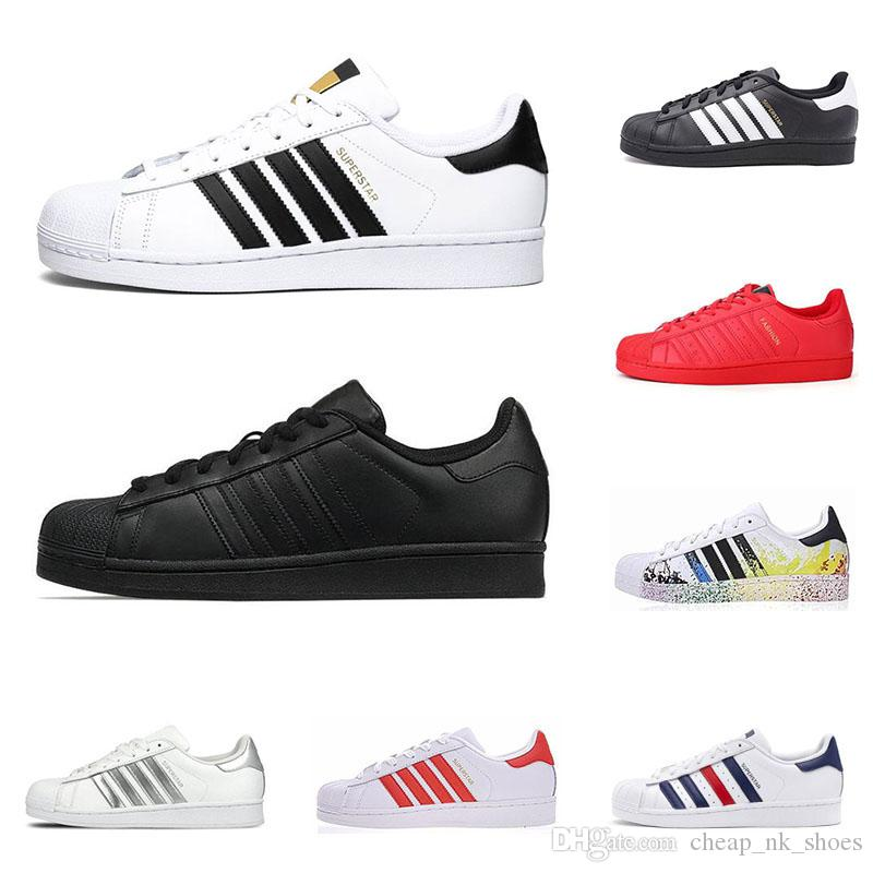 Hot star superstars men women flat casual shoes triple black white gold red pride Iridescent mens fashion leather sneakers outdoor walking