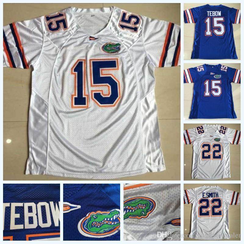 رجل 15 تيم تيبو 22 e.Smith فلوريدا gators ncaa كلية كرة القدم جيرسي مزدوج مخيط اسم أبيض أزرق سريع الشحن