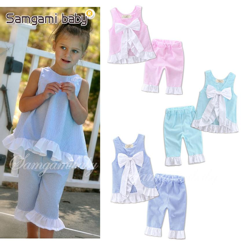Wholesale Baby Boutique Pink Blue Yellow Purple Aqua Seersucker Fabric Outfits For Girls Summer Swing Top Pant Set Q190523