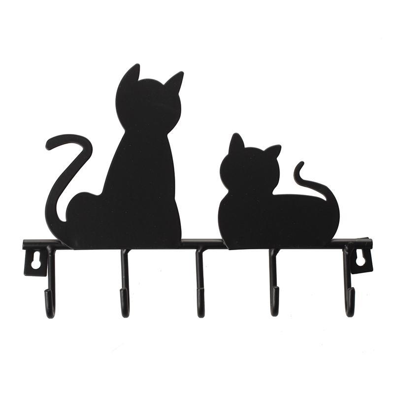 Халаты крюки мода черный кот дизайн металлический железный стена дверь установлена деревенская одежда пальто шляпа ключ висит декоративная вешалка