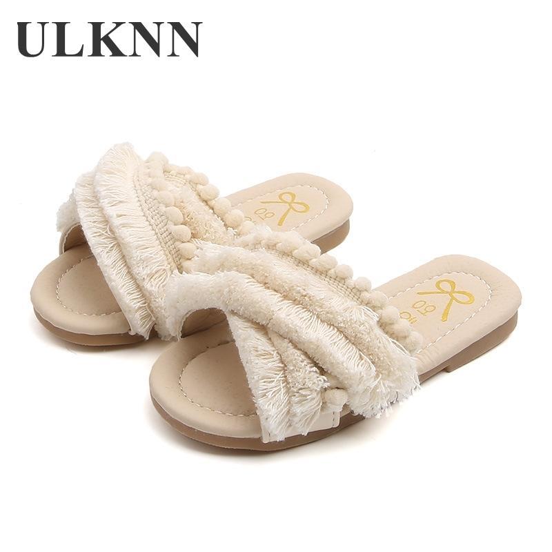 ULKNN 2020 d'été Chaussures Filles Nouveau Smmer Mode Enfants Filles Sandales Enfants Tassel Princesse bébé Chaussures en cuir fille Y200623