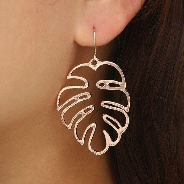 El diseño único cuelga los pendientes para las mujeres forman geométrica pendientes huecos de metal de la hoja de plátano de plata de oro rosa pendientes de la joyería