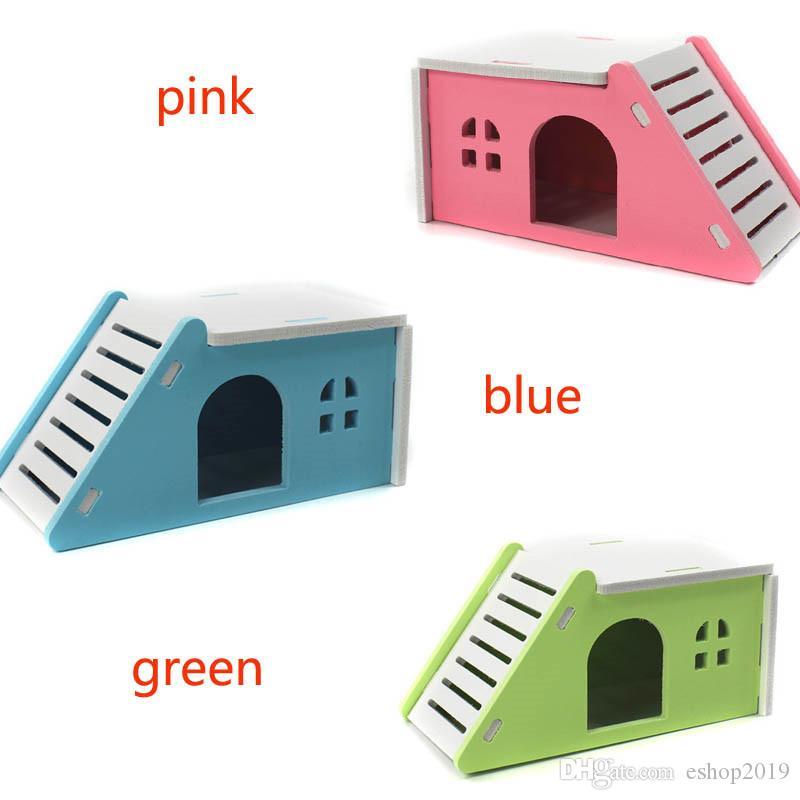 DIY مائل بيت الهامستر الصغيرة الهامستر الأليفة منازل سرير قفص عش القنفذ غينيا خنزير القلعة لعبة الأزرق الوردي الأخضر