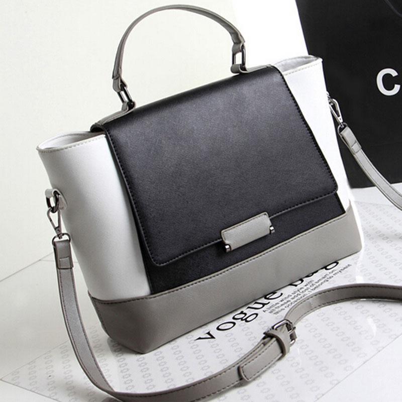 Bolsas de ombro sacos2015 couro preto Europa patchwork estilo designer designer- Messenger Moda United The and White Bags afirma um PJSR