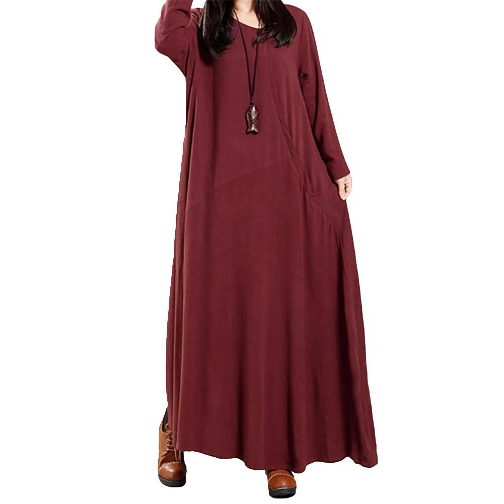 9084506099968 Vintage Cotton Linen Dress Women Solid Buttons Pockets 5XL Plus Size Dress  Irregular O Neck Long Sleeve Maxi Gown Loose Dress Grey Summer Dress Casual  ...