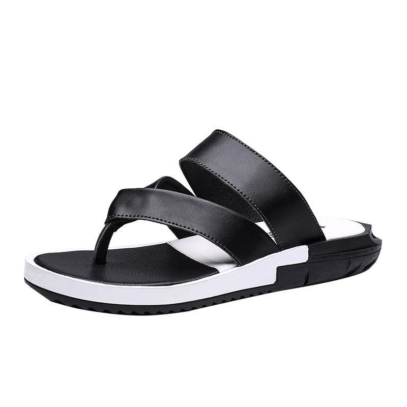 Männer Sommer-Flipflops Anti-Rutsch-Outdoor Wear kühlen Herren Pantoffeln echtes Leder Slipper-Schuhe Strand Schwarz
