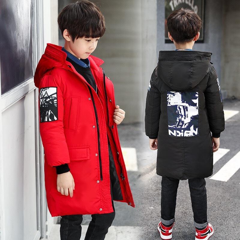 أسفل سترة الأطفال في فصل الشتاء معطف طويل بوي مولود جديد سميكة سترة واقية عارضة أزياء ملابس أبلى الأطفال 4-12 سنة