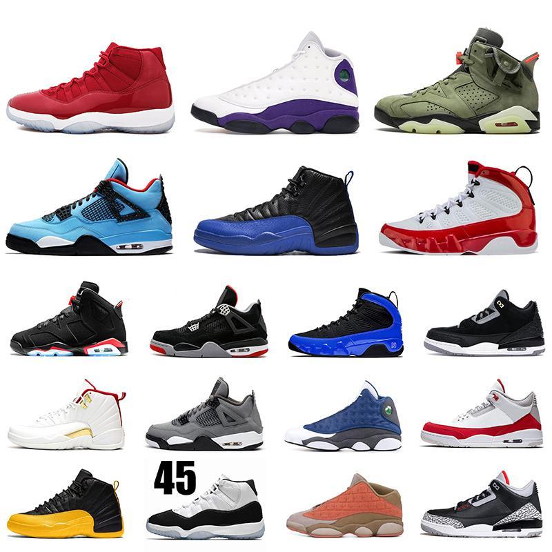 Üst Kalite Jumpman Basketbol Ayakkabı FIBA 12s Oyun Kraliyet Travis Scott 4s 13s 9s Concord 11'ler Tinker Siyah Çimento Eğitmenler Sneakers Bred 6S