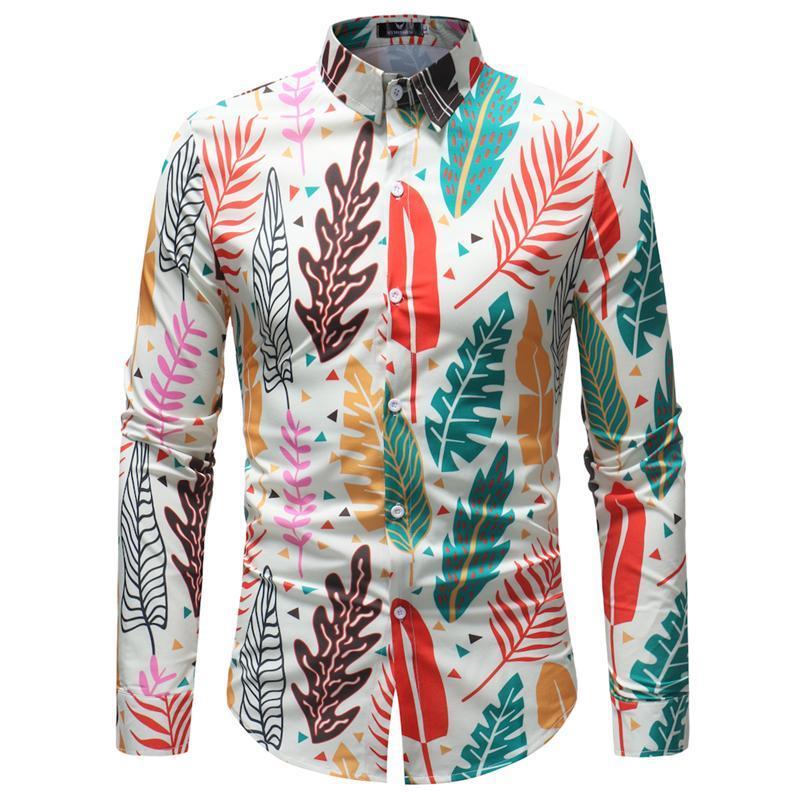 Mens pulsante casual giù il vestito camice 2018 Fashion Colorful Leaves Stampa Shirt manica lunga Uomini Slim Fit maschio Chemise Homme