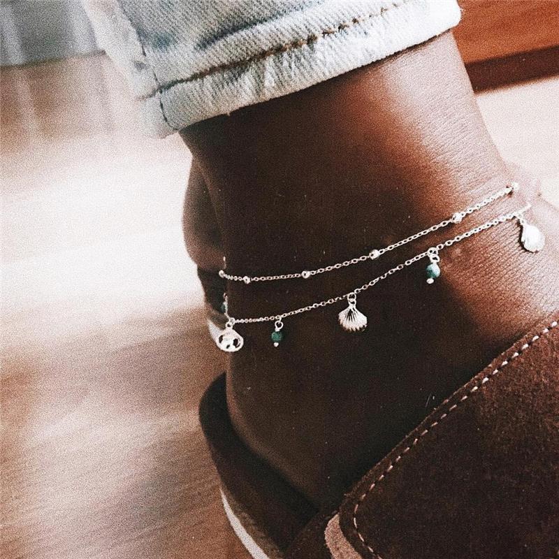 Cavigliera per le donne Boho Conch Cowrie Shell Anklet tur0quoise Bracciale in tessuto con perline caviglia catena Hippy Surf Piedi Gioielli