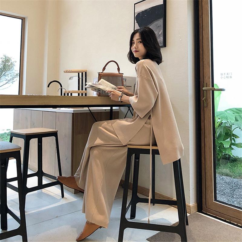 Knitting Female Sweater Pantsuit für Frauen Zweiteiler Strickpullover mit V-Ausschnitt Langarm-Verband-Top mit weitem Bein Hosen-Anzug T191025
