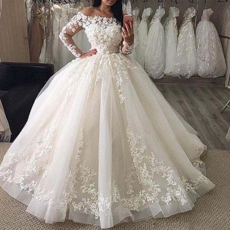 PELOTE robe de mariage 2019 Encolure Illusion manches longues en dentelle longueur de plancher Puffy appliques Jupe Taille Plus formelle Robe de mariée
