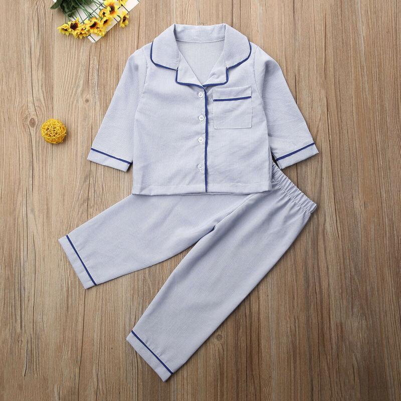 Il nuovo modo del bambino del bambino delle ragazze del ragazzo autunno Outfits maniche lunghe T-shirt Tops + Pants set Casual Sleepwear