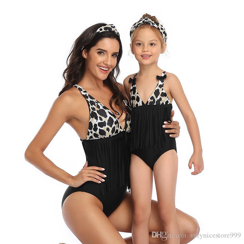 2020 Hot Parent Enfant Maillots de bain Mère fille maillot de bain Bikini Tassel Bikini parent-enfant maillot de bain correspondants famille Tenues d'une seule pièce