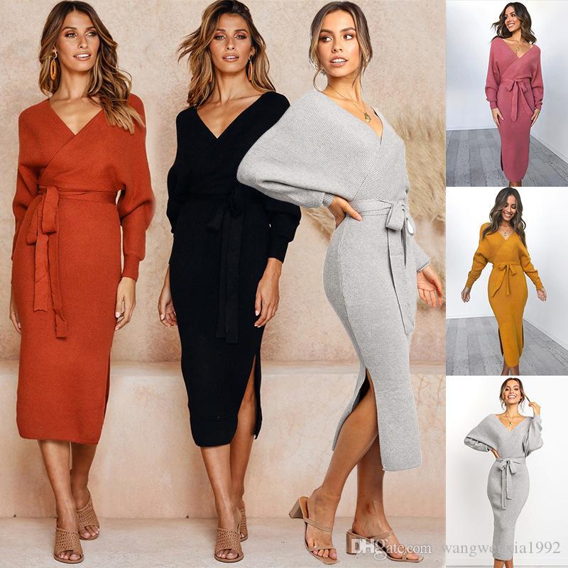 Sexy V-образным вырезом Backless зима платье женщин вскользь тонкий с длинными рукавами трикотажные Side Сплит Midi платье с поясом