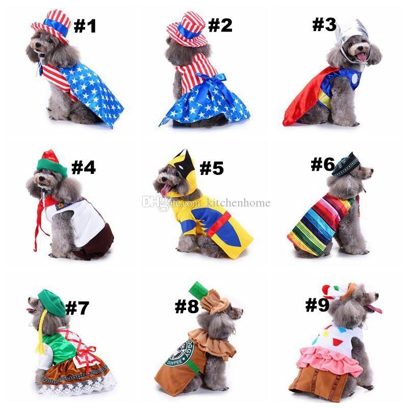 18 Designs Pet Dog Santa Costumes Christmas Dressing Apparels Coats Funny Party Holiday Decoration Clothes for Pet Hoodies Puppy Cats
