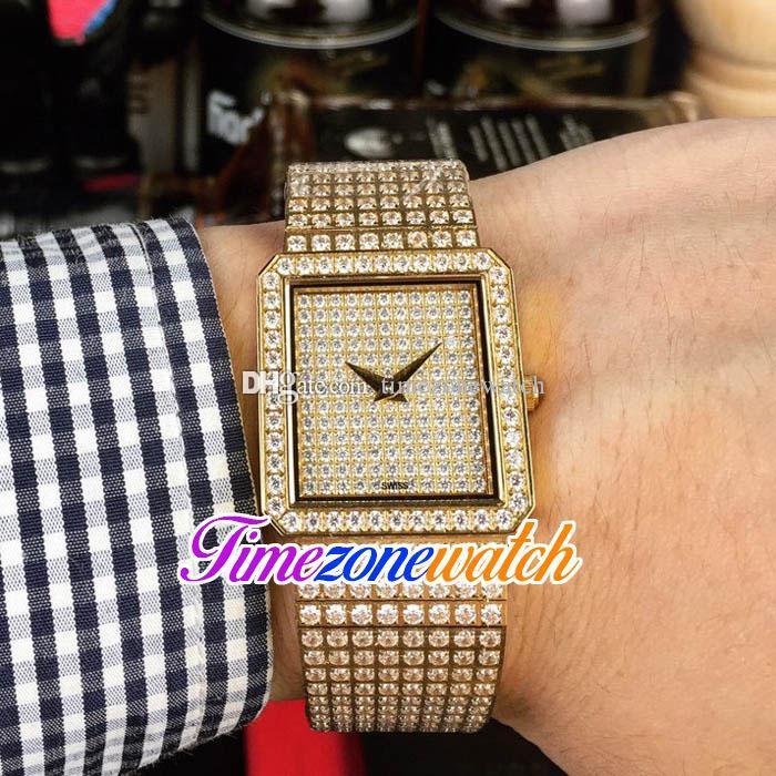 Nueva joyería del bailarín de G0A02701 cuarzo suizo Ladies mujer del reloj de oro amarillo pavimentada Dial pulsera de diamantes 25 / 20mm Timezonewatch E25b2