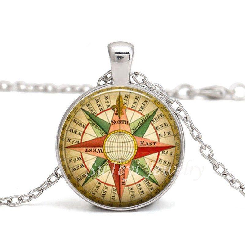 Hot Splitter Schwarz Bronze Runde Glas Cabochon Schmuck Steampunk Compass Anhänger Vintage Compass Anhänger Vintage Compass Halskette