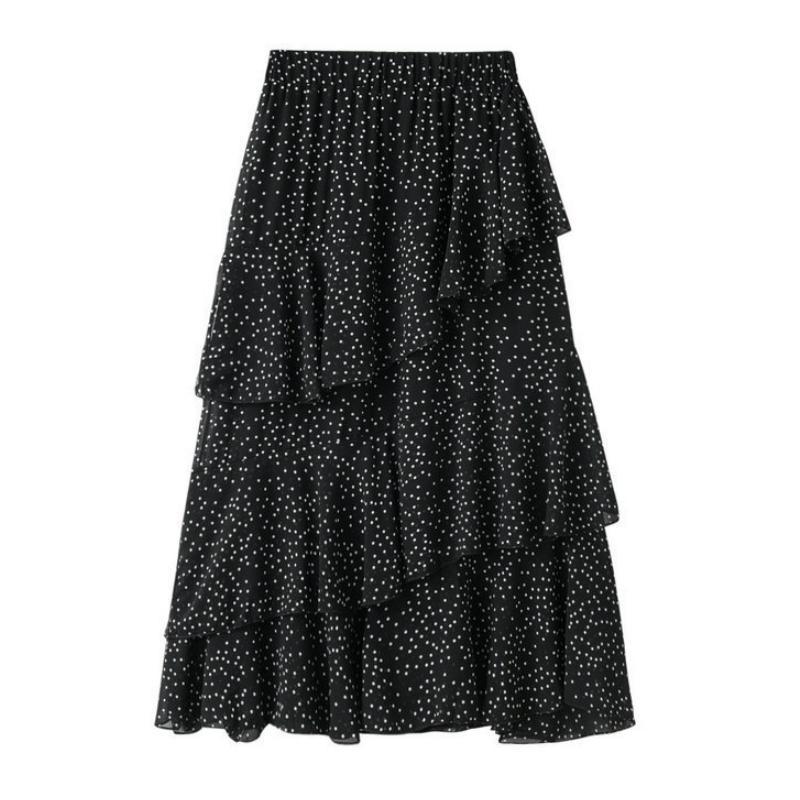 Falda de gasa de verano punteado irregular irregular irregular de la mujer en capas de volantes de lunares lunares una línea de tobillo faldas largas