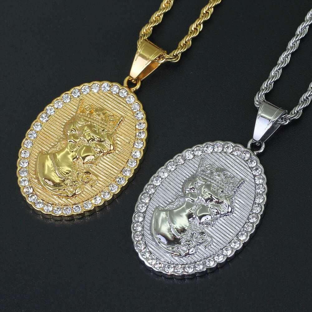 Fashion Queen Victoria pendant necklaces for men women luxury diamonds Ellipse dog tag pendants stainless steel gold silver necklace jewelry