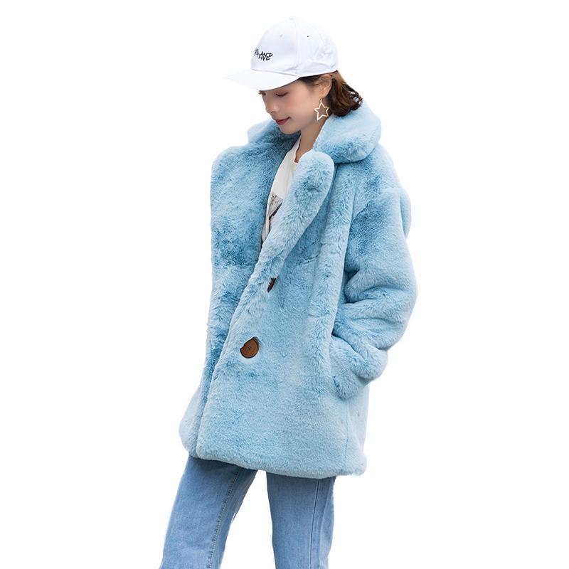 Acheter GTGYFF Blazer Fausse Fourrure Bleu Ciel Costume Veste Avec Col Pour Femmes Vêtements Chauds Manteaux Manteau Survêtement Manteaux Hiver De