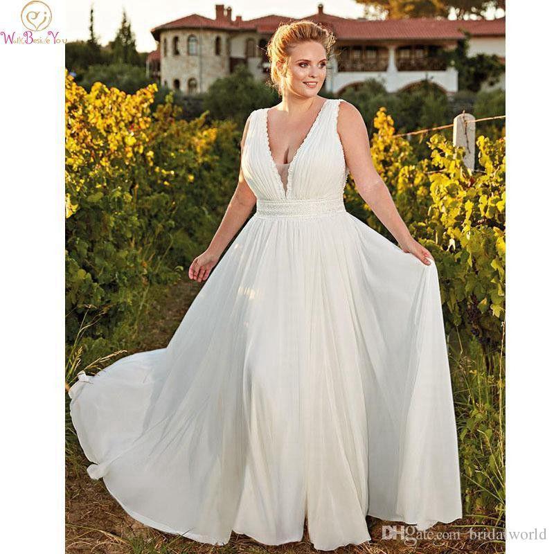 Простое свадебное платье большого размера Белый сшитое на заказ шифоновое платье с V-образным вырезом без рукавов Длина пола Sweep Train Pleat