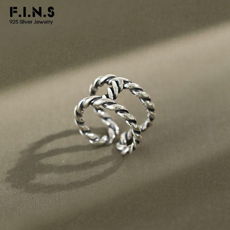 F.I.N.S vendimia coreana S925 plata del anillo de dedo del INS 2020 Nueva doble retro giro de amplia apertura Anillos para Mujeres Decoración
