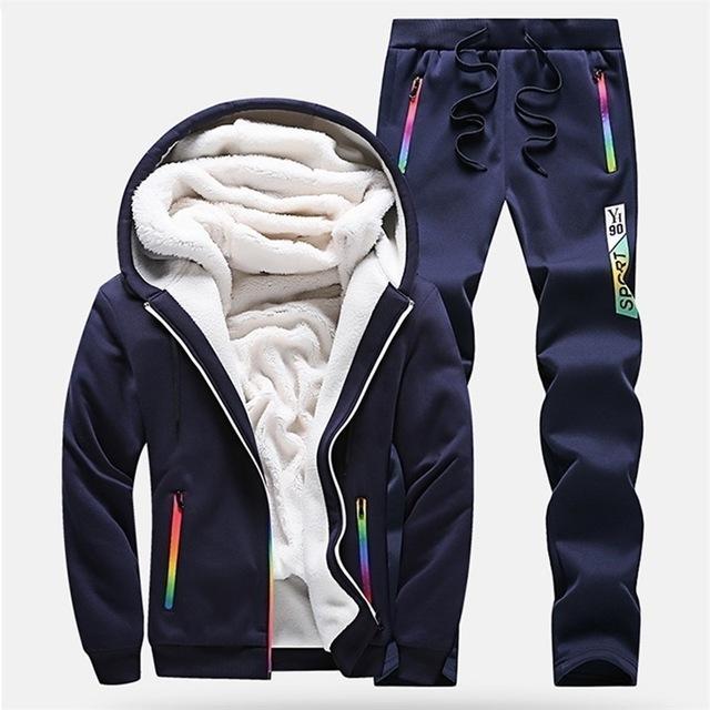 Kış Tracksuits Erkekler Seti Günlük Kalınlaşmak Fleece Sıcak Kapşonlu Ceket Pantolon Bahar Sweatshirt Spor Coats Hoodie Eşofmanlar