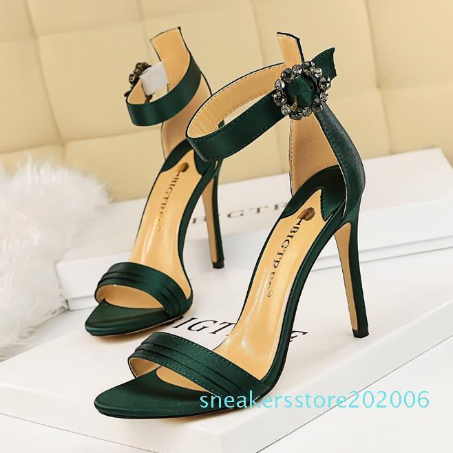 Fashion Red Rhinestone Ankle Strap High