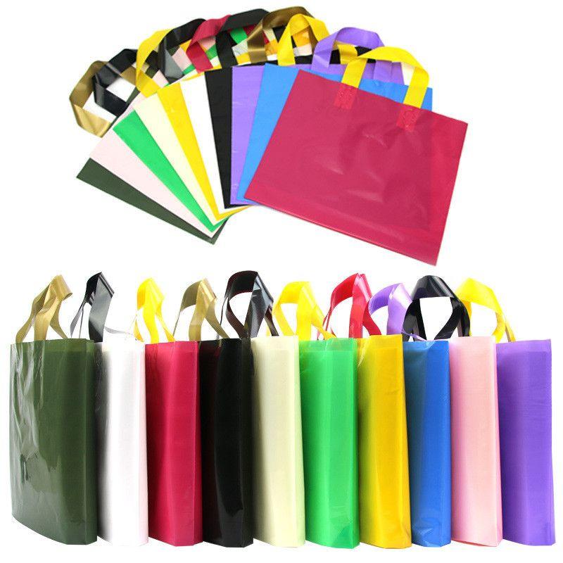PE-Plastik-Einkaufstasche mit Griff Einkaufen Kleidung Geschenken Tasche 45 * 35 + 10 cm