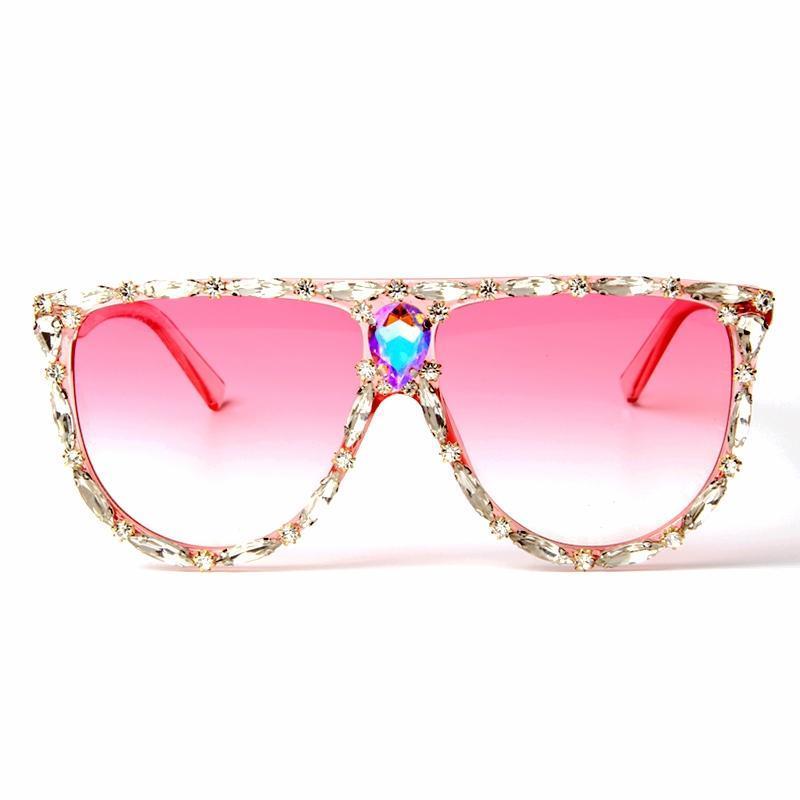 المتضخم مصمم ساحة نظارات شمسية نسائية عدسة العلامة التجارية الكبيرة الوردي نظارات شمسية كريستال UV400 الإناث إطار شفاف