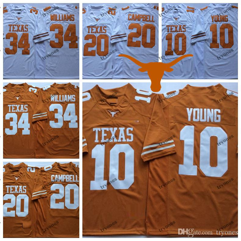 Mens Texas Longhorns Arancione Bianco 10 Vince Young 34 Ricky Williams 20 Earl Campbell College Football maglie S-XXXL