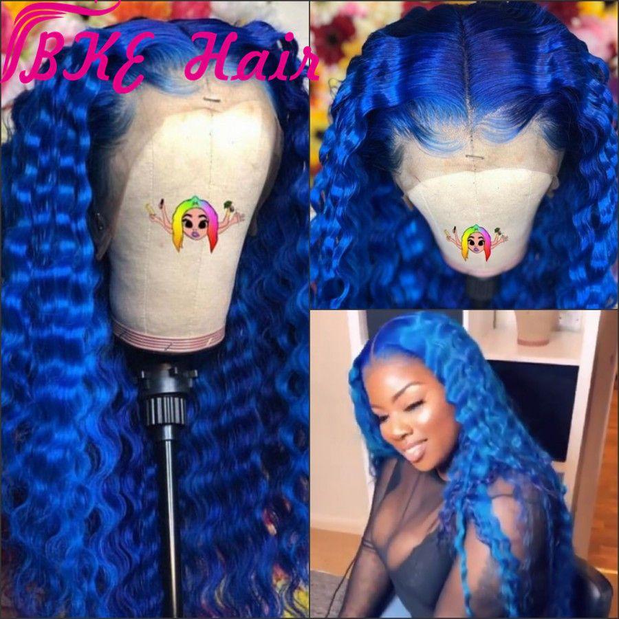 Bleu foncé Vague synthétique avant de dentelle perruque Glueless chaleur fibre résistant avec Hairline naturel pour la femme noire, vague profonde Perruques