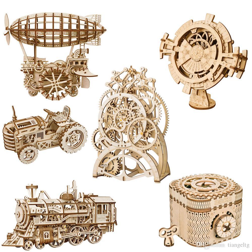 Дети 3D деревянная головоломка механическая зубчатая передача сборки модель игрушки самолет веселый круглый колесо обозрения пенал игрушки дети рождественские подарки игрушки 04