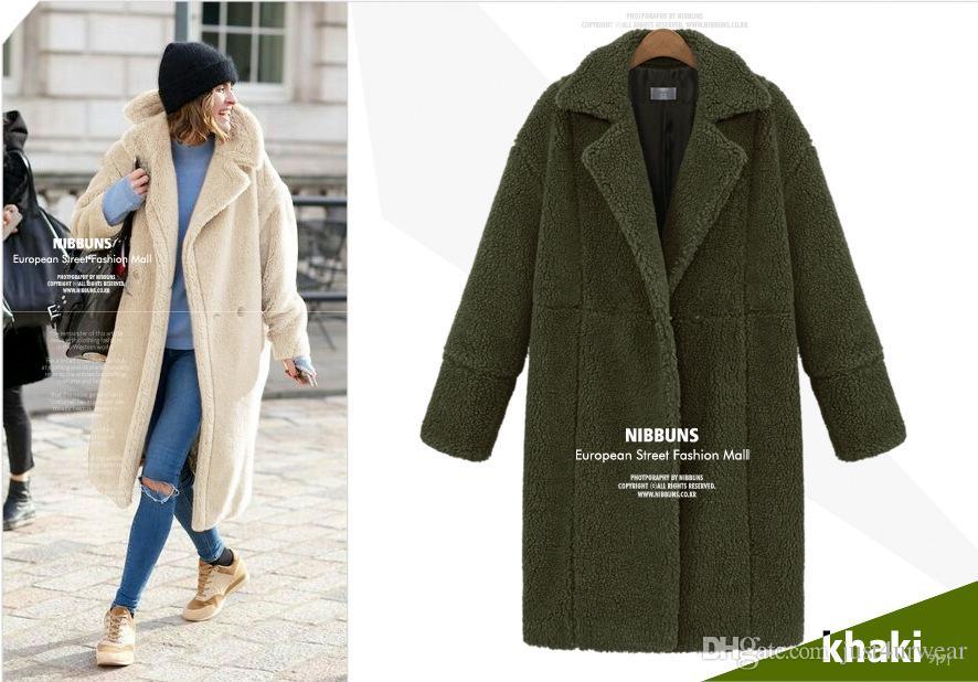 Kadın Kış Kalın Coats Uzun Dış Giyim Katı Renk Streetwear Yün Kaşmir Blend Ceket Palto Kadın Yaka Boyun Coats Tops